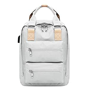JpOTSUT Women Laptop Backpack Stylish Computer Backpack School Backpack Casual Daypack Laptop Bag Water Repellent Nylon Business Bag The North face Backpack (Color : White)