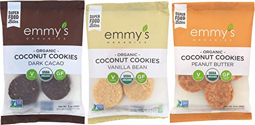 (Emmy's Organics Coconut Cookies, Variety Pack (Dark Cacao, Vanilla Bean, Peanut Butter), 2 oz (Pack of 12))