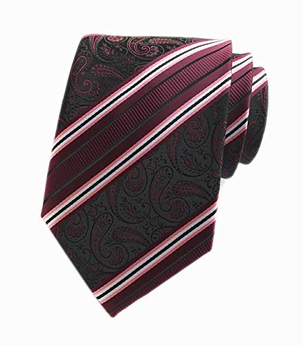 Mens Boys Wine Red White Ties Striped Patterned Graduation Student Silk Neckties