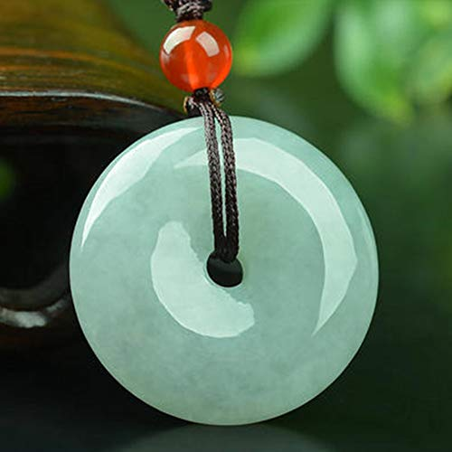 - EASTCODE Charming Circle/Donut/Coin Green Jade Genuine Certified Grade A Jadeite Luck Pendant Necklace