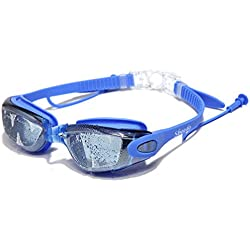 Swimming Goggles,Mirror Coated Lenses Anti-Fog Shatterproof UV Protection Swimming Glasses, with Siamese Ear Plugs - Best Adult Swim Goggles (Blue)