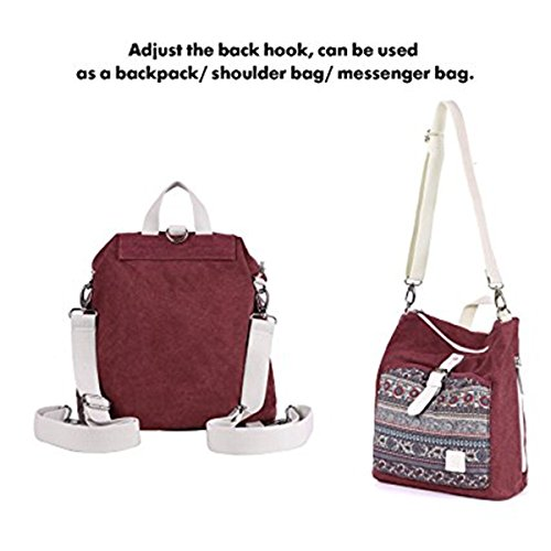 Backpack Purse Bag Maroon Shoulder Canvas LittleBear Rucksack Women Girl AwqnUCEZ