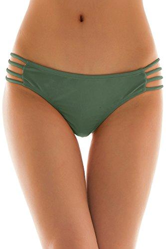 SHEKINI Womens Sexy Solid Strappy String Bikini Panties Hipster Thong Swimwear Bottom (Large/(US 12-14), Olive Green)