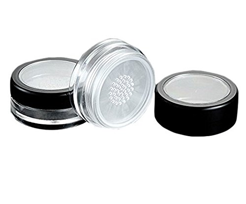 3 Pieces 10G 10ml Empty Loose Face Powder Blusher Puff Case Box Makeup Cosmetic Jars Containers with Sifter ()
