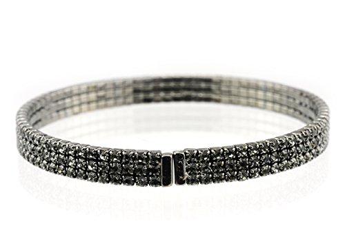 - Women's Elegant 3 Row Swarovski Crystal Stud Flex Bracelet, Gray/Hematite-Tone