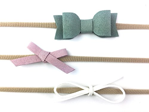 Baby Wisp Infant Mixed Bows 3 Faux Suede Baby Headbands Girls Newborn (Infant (3-12M), Green, Lilac, - Bow Suede Faux