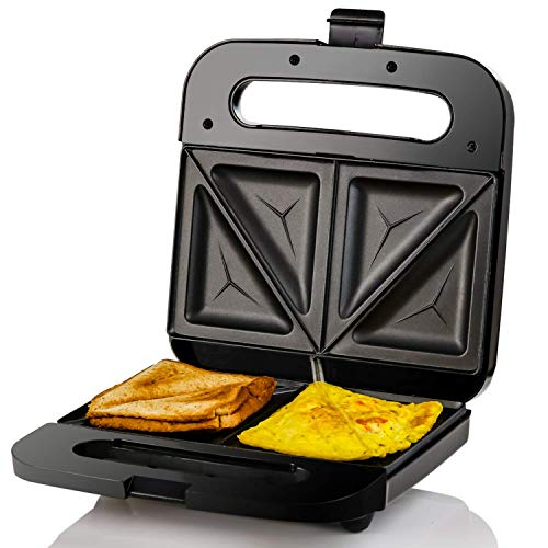 OVENTE Electric Sandwich Maker, Non-Stick Plates, Anti-Skid Feet, Indicator Lights, Stainless Steel, 750W, Black (GPS401B), 2-Slice