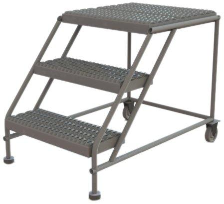 Tri-Arc WLWP032424 3-Step Forward Descent Mobile Steel Work Platform, 24-Inch x 24-Inch Platform