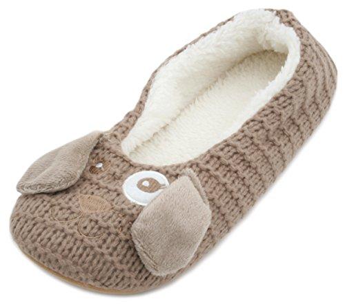 SlumberzzZ Zapatillas de estar Por casa de Material Sintético Para Mujer Brown Dog KeMf54nfHJ
