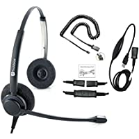 TruVoice HD-150 Professional Corded Double Ear NC Headset With USB and U10P Cable works with Mitel, Polycom VVX, Nortel, Avaya, Shoretel, Aastra, Analog Phones and PC (Softphone) - Complete Solution