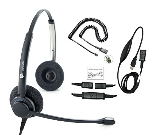 (TruVoice HD-150 Professional Corded Double Ear NC Headset With USB and U10P Cable works with Mitel, Polycom VVX, Nortel, Avaya, Shoretel, Aastra, Analog Phones and PC (Softphone) - Complete Solution)