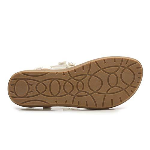 Strass Cool Confortable Sandale Chaussures Et Plates Shangxian De 36 black White Décoration Fleur Tongs Boho Femmes Plage Fête Vacances Été SwgYp
