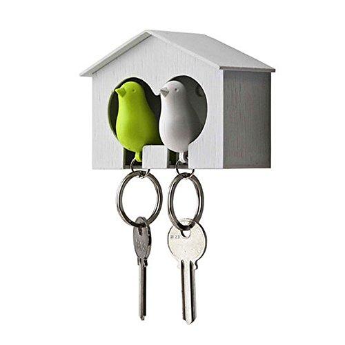 Couple Pair Sparrow Bird House Nest Whistle Key Holder Ring Keyholder Keychain Keyring Hanger Rack