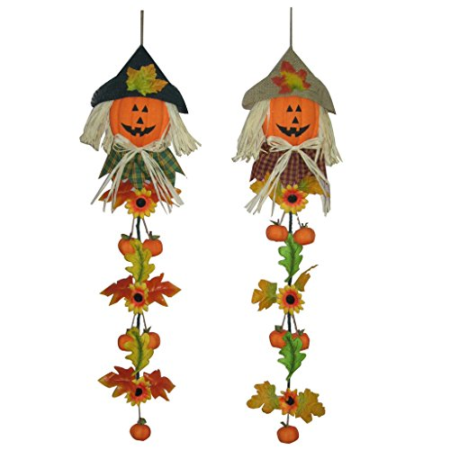 Set of 2 Halloween Pumpkin 36-Inch Scarecrow Fall Harvest Easter (Bat Halloween Makeup Tutorial)