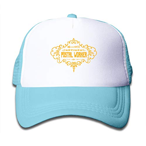 Retired Postal Worker Adjustable Mesh Cap Trucker Hats is Available in Baby, Toddle,and Adult Multiple Choices Sky Blue