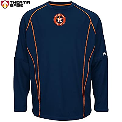 Houston Astros MLB Men's Therma Base On-Field Practice Pullover Fleece - Navy (Small)