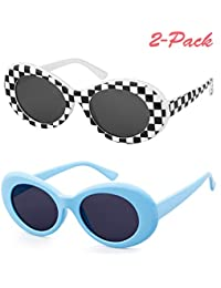 UV400 Clout Goggles Bold Retro Oval Mod Thick Frame Sunglasses