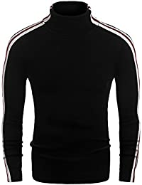 Mens Casual Slim Fit Stripe Ribbed Knit Pullover Turtleneck Sweater