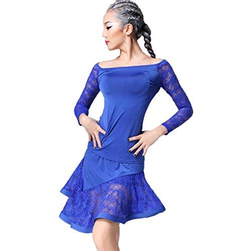 Dance Modern Costumes (YC WELL Women Latin Dance Performance Clothing Modern Waltz Tango Latin Dance Costume Party Stage(blue,M))