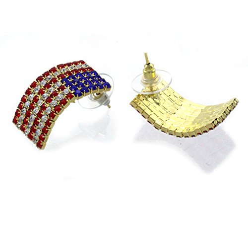 cocojewelry USA American Flag Patriotic Red Blue Rectangle Stud Earrings Jewelry (Gold-tone)