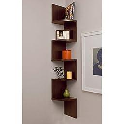 Set of 2 Danya B. Corner Zig Zag Wall Shelves in Walnut Laminate Finish