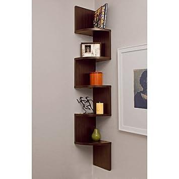 Set of 2 Danya B  Corner Zig Zag Wall Shelves in Walnut Laminate Finish. Amazon com  Set of 2 Danya B  Corner Zig Zag Wall Shelves in