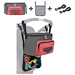 Pram-Stroller-Organiser-Bag-for-Travel-Easy-Access-Baby-Wipe-Pocket-Insulated-Bottle-Cup-Holders-Storage-for-Nappies-Clothes-Toys-BONUS-GIFT-2-x-Pram-Hooks-and-1-Mesh-Pouch-and-BONUS-eBook-PINK-and-GR