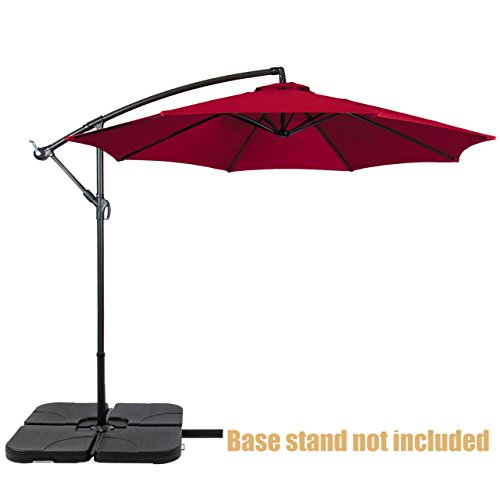 Patio Umbrella Offset 10' Waterproof polyester Heavy-Duty Fabric Outdoor Market Umbrella New Burgundy - Town Jacksonville The Center