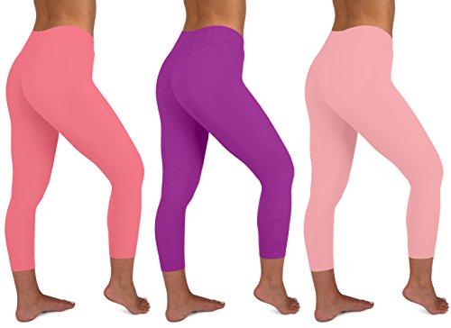 Basic Pink Leggings - Sexy Basics Womens 3 Pack Active Yoga Workout Capri Cropped Cotton Stretch Leggings (Small, 3 PK-Peach-Purple-Pink)