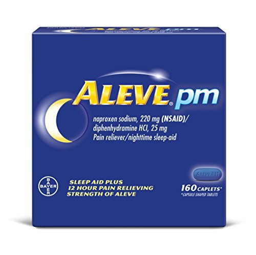 Aleve PM Caplets, Naproxen Sodium 220 mg (NSAID)/diphenhydramine HCl 25 mg, Pain Reliever/Nighttime Sleep-Aid, Non-Habit Forming, 160 Count ()