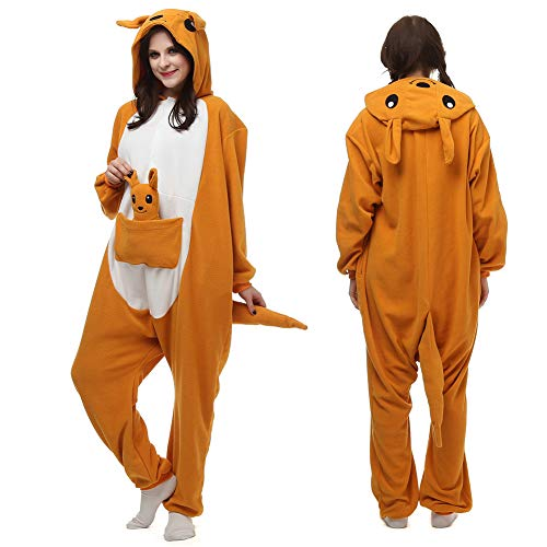 YoCozy Kangaroo Onesie Outfit for Adult and Teenagers. Unisex Halloween Xmas Costume,M/L Orange]()
