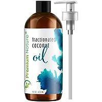 Aceites de masaje de aceite de coco fraccionado: líquido MCT Aceite corporal natural y puro Aceite de masaje para cabello y piel 16 oz Bomba transparente incluida El empaque Premium de la naturaleza puede variar