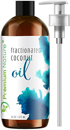 Fractionated Coconut Oil Massage Oils - Liquid MCT Natural & Pure Body Oil Carrier Massage Oil for Hair & Skin 16 Oz Clear Pump Included Premium Nature Packaging May ()
