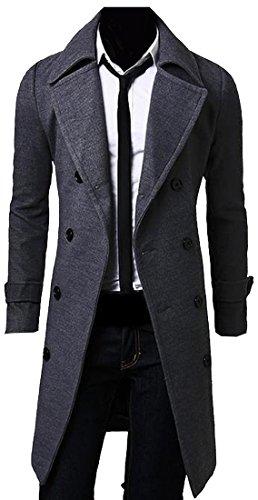 2 X Full Coat (Abetteric Men Casual Slim Long Dust Coat Trench Coat Outwear 2 XL)