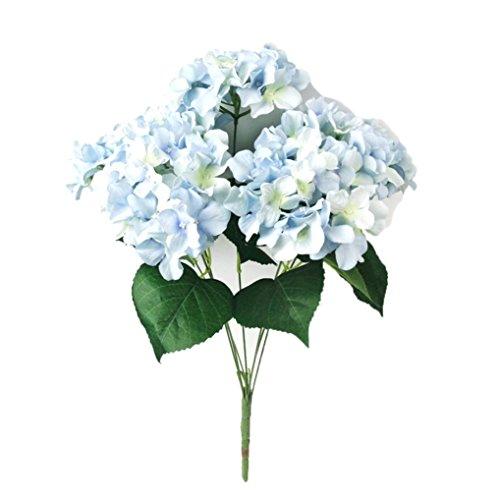 Dusty Blue Silk (Iuhan Artificial HydrangeaSilk Fake 7 Heads Flower Bunch Bouquet Home Hotel Wedding Party Garden Floral Decor)
