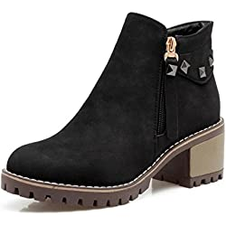 Dahanyi Stylish Women Ankle Boots Square Heel Round Toe Rivets Side Zipper Ladies Shoes Classics Footwear Size 32-43 Black 7