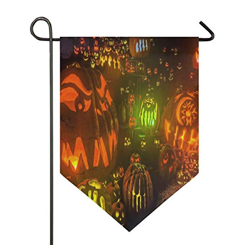 HD Halloween Background Garden Flag Indoor & Outdoor Decorative Flags for Parade Sports Game Family Party Wall Banner Season Porch Lawn Double Sided 12 x 18.5 inches