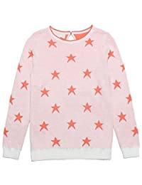 Mini Phoebee Cute Girls Star Pattern Round Neck Cotton Pullover Knitted Sweater