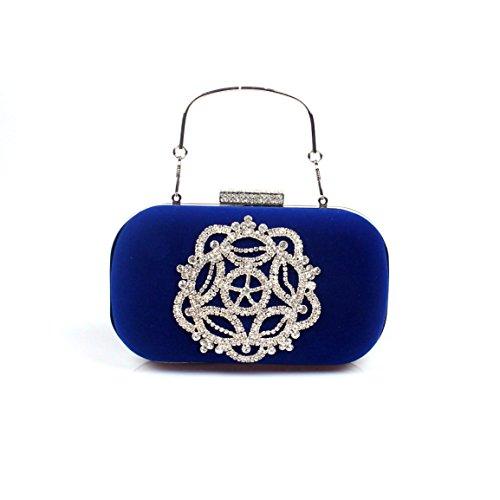 Banquet Femme Sac Sac Cristal de Haute qualité Sac Main Velours FYios de de blue à Diamant 46CCq