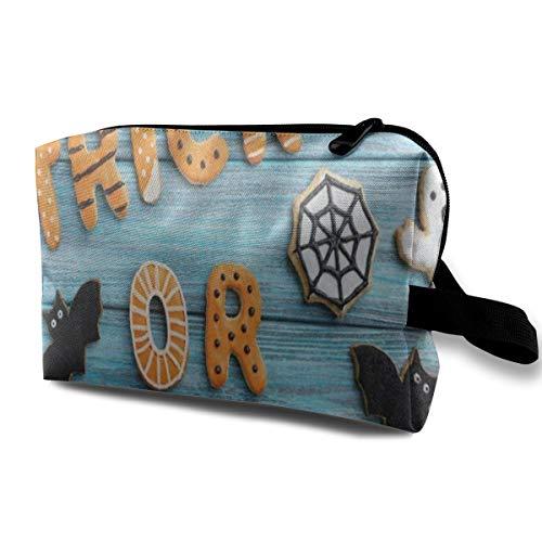 Makeup Bag Resh Halloween Ghost Bat Wheel Donut Wooden Travel Bag Storage Bags Cosmetic -