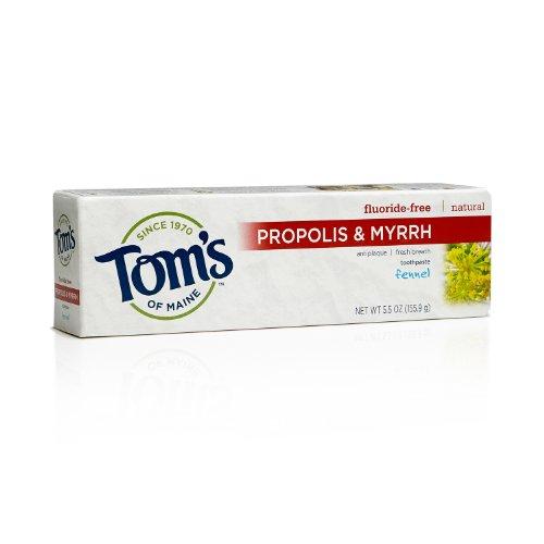 Тома Мейна 683074 Фтор-Free Натуральная зубная паста с прополисом и смирну, фенхель, 5,5 унции (в упаковке 24)
