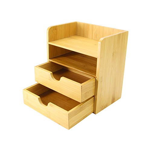 4-Tier Bamboo Desktop Organiser | Mini Desk Top Storage with Drawers | 2 Shelf & 2 Drawer Stationery Storage | Office…