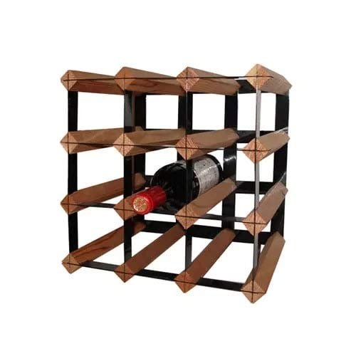- OKSLO Rack-12ct 12 bottle counter top cube wine rack with metal trellis and t