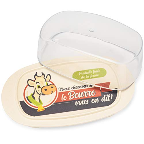 Extra Large Cream Butter Dish Holder with Lid & Vintage French Cow Print - Dishwasher Safe Plastic & Bamboo Butter Dish With Clear Cover - Sized For West Coast and Large European Style Butters