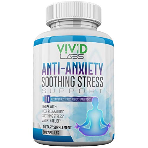 Anti Anxiety & Stress Relief Supplement – Natural Plant Based Herbal Blend for Anxiety Relief, Fatigue Support, Mental Focus, Positive Mood w/Serotonin | Non Drowsy Formula for Memory – 60 Capsules