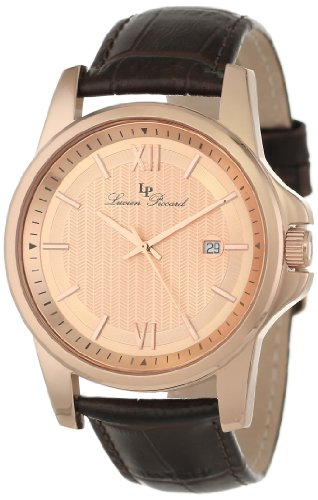 Lucien Piccard Men's 10048-RG-09 Breithorn Rose Tone Textured Dial Brown Leather Watch