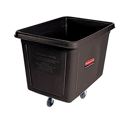 Collection Management Waste Garbage (Rubbermaid Commercial MDPE 128.6-Gallon Laundry and Waste Collection Cube Truck, Rectangular, 34-1/8-Inch Width x 48-Inch Depth x 36-1/2-Inch Height, Black (FG461900BLA))