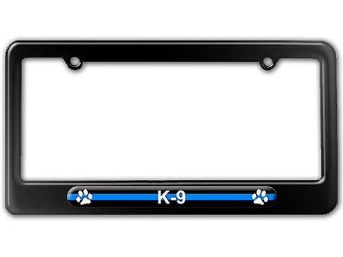 K9 License Plate - Thin Blue Line K-9 Unit Paw Prints - Police License Plate Tag Frame - Color Gloss Black