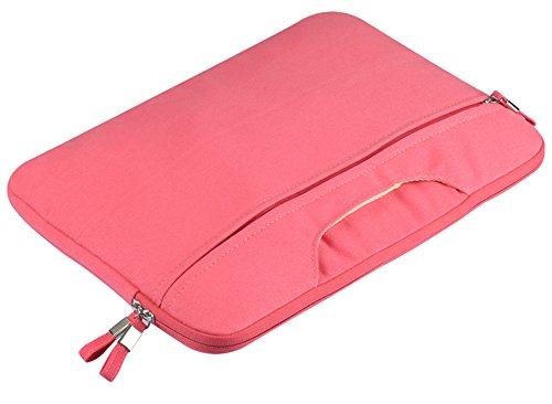 YiJee Color Sólido Tela de Lona Funda Bolso Sleeve para Ordenador Portátil / Macbook de 11-15 Pulgadas 11 Inch Rose