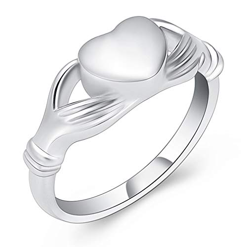 Minicremation Cremation Ring for Ashes Golden Memorial Keepsake for Ashes Urn Ring Ashes Holder Locket (Silver, 9)